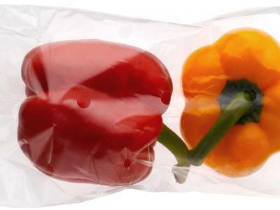 Poivrons emballés en plastique