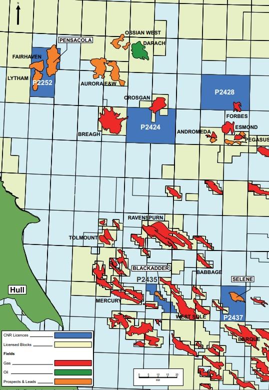 Les actifs de Deltic dans le sud de la mer du Nord, y compris le prospect Pensacola.