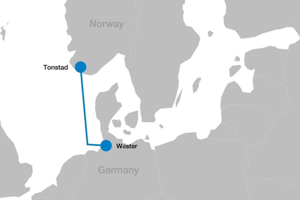 Image montrant la carte NordLink (avec l'aimable autorisation de Statnett)