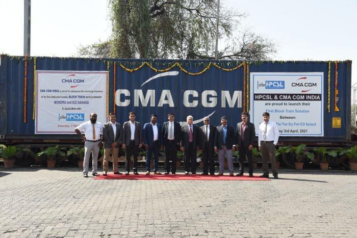 Le Groupe CMA CGM et Hasti Petro Chemical & Shipping Ltd ont reçu conjointement leur tout premier train bloc de Mundra à l'ICD à Sanand, Gujarat