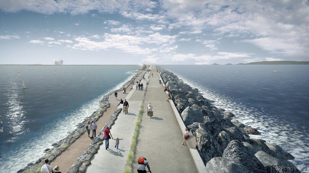 Illustration / Vue d'artiste de Swansea Bay Tidal Lagoon (avec l'aimable autorisation de Tidal Lagoon Power)