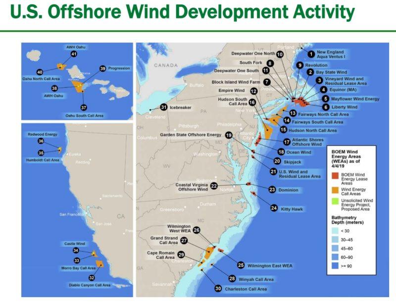 Carte des vents offshore des États-Unis 2021